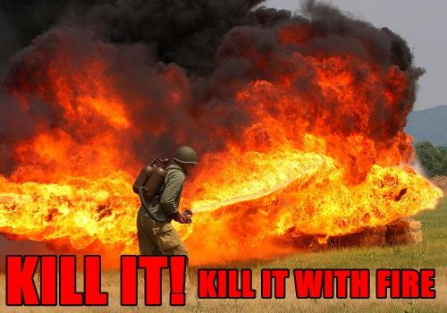 Kill it, kill it with fire!